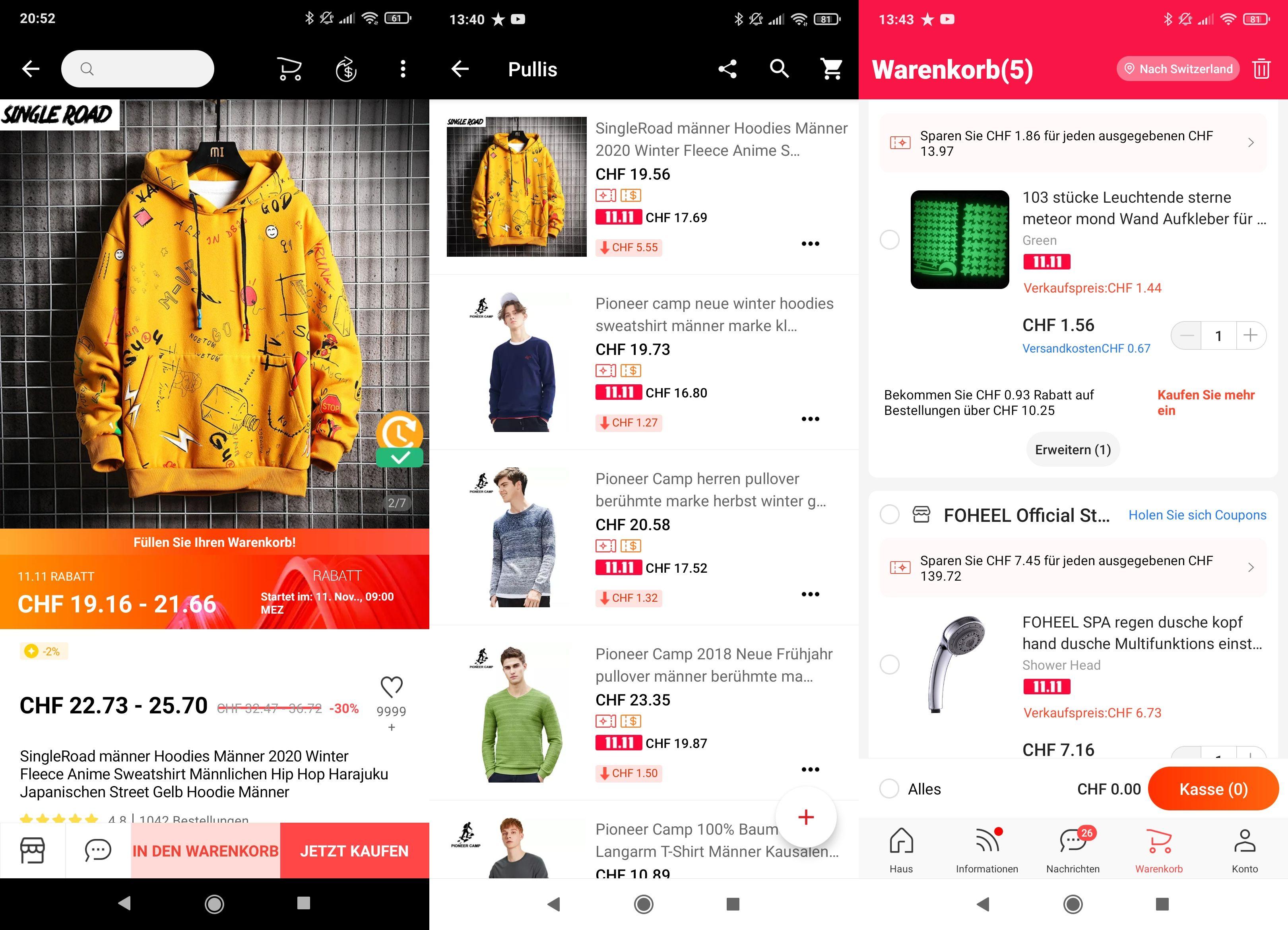 Ob beim einzelnen Produkt (links), in der Wunschliste (Mitte) oder im Warenkorb: Überall werden die möglichen Ersparnisse angezeigt. Im Warenkorb wird zusätzlich auf mögliche Zusatzersparnisse hingewiesen, die man erzielen kann, wenn man beim jeweiligen Shop noch mehr einkauft.