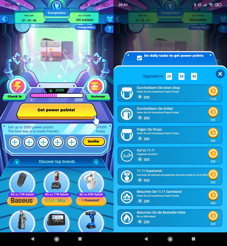 Im Spiel Energielabor wird man dazu motiviert, möglichst sich viele Shops und Artikel anzuschauen.